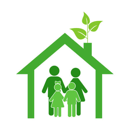 green family house, with man, woman and children. Ecology symbol. 일러스트