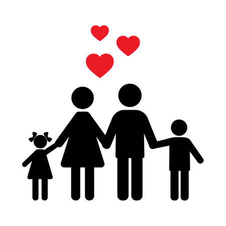 illustration sign silhouette of a happy family