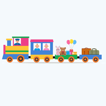 multi-colored steam engine with children, toys and gifts