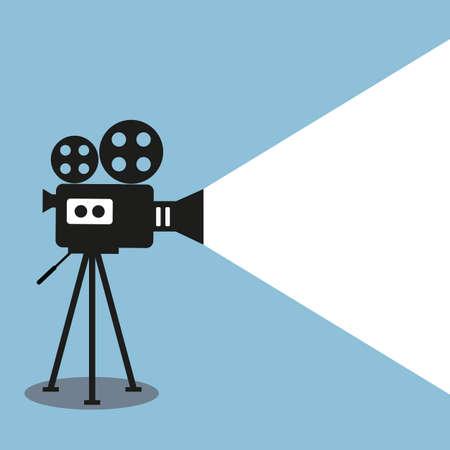 Retro movie projector poster. Video camera on a tripod