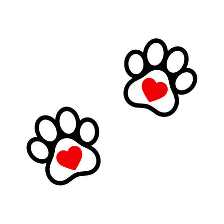 illustration banner with paw and heart. Ilustracja