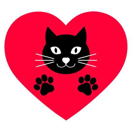 cute black cat with paws on a background of red hearts