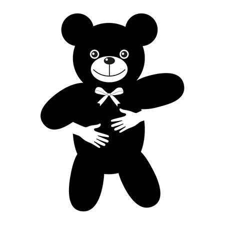 Toy Bear Embrace Baby. Animal Logotype.