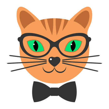 head of a cute ginger cat with glasses and a bow Ilustracja