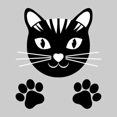 head of a black cat with paws on a white background