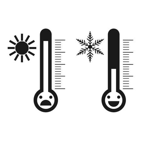 thermometers of heat and cold temperature with different emotions