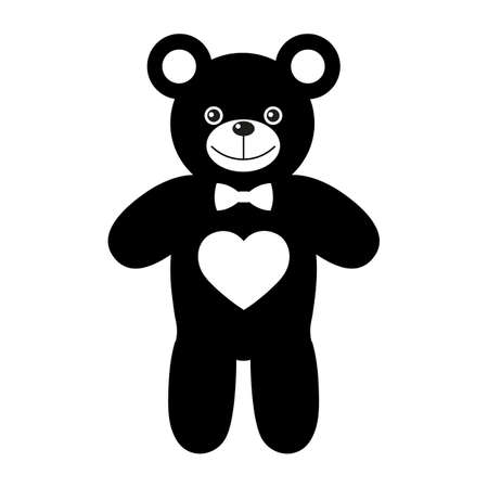 cute black toy bear with a heart on a white background Ilustracja