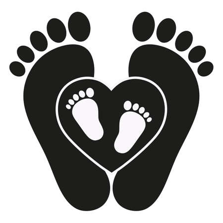 illustration of mother and baby footprints on heart background Zdjęcie Seryjne - 134912624