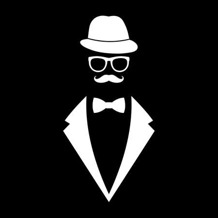 silhouette man in hat and glasses in retro style Ilustracja