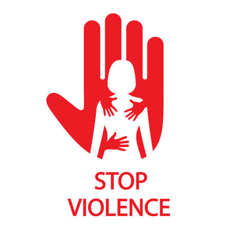 Stop sign hand prohibition of female violence