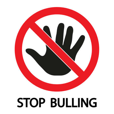 child stop bullying sign on a white background. Zdjęcie Seryjne - 134912631