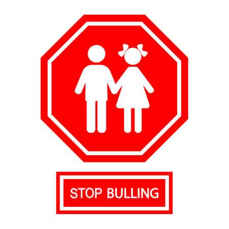child stop bullying sign on a white background. Zdjęcie Seryjne - 134912632