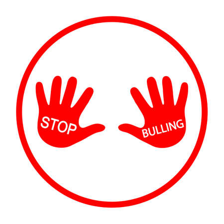 stop sign bullying hands in a red circle on a white background