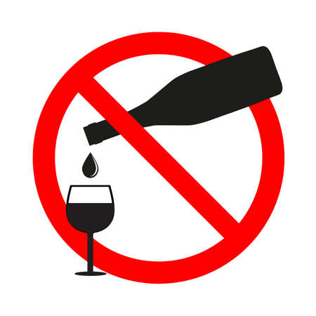 no alcohol sign in red crossed out circle Ilustracja