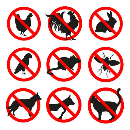 Set of prohibited animals signs in a red crossed out circle Ilustracja