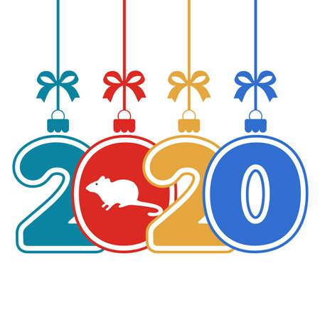 Merry Christmas Year 2020 greeting card Ilustracja