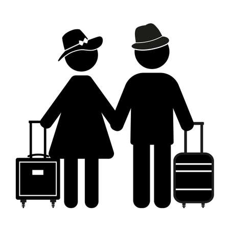 silhouette man and woman with travel bags on white background