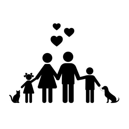 silhouette of a family with animals on a white background Ilustracja