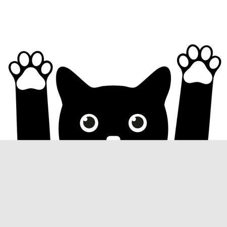 illustration of a cute black cat with raised paws