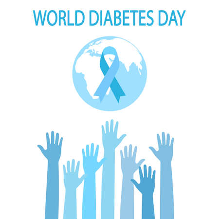 Of World Diabetes day. Hands asking for help with the globe