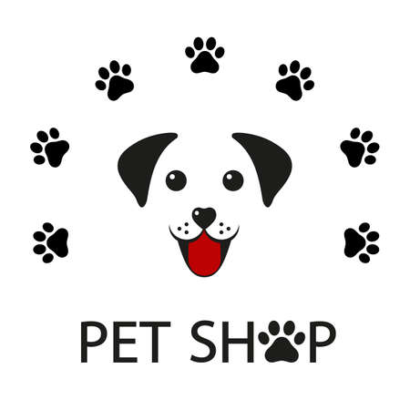 pet shop logo design template with cute dog Ilustracja