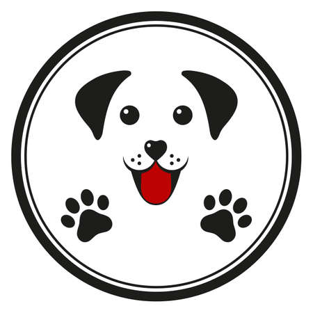emblem of a cute dog in a black circle Ilustracja