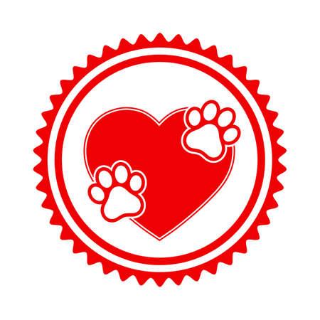veterinary emblem animal footprints on red heart background Ilustracja