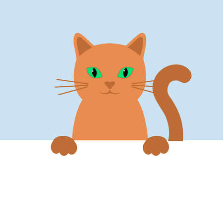 illustration of a cute ginger cat on a blue background Ilustracja