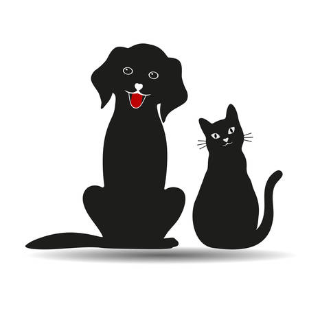 cute dog and cat silhouettes on white background