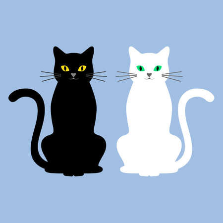 illustration of cute black and white cats on a blue background Ilustracja