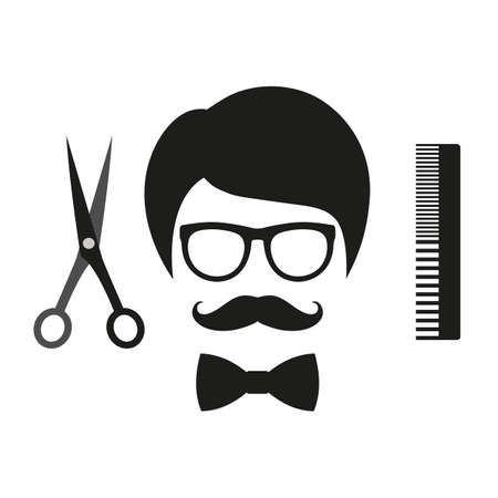 hairdressing salon for haircuts and shaving. emblem man in glasses and gravy.
