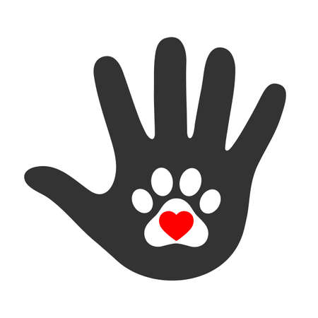 childs hand holds paw symbol. Animal protection