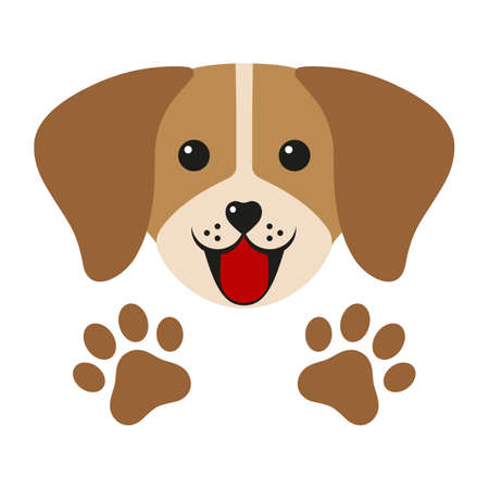 cute dog face with paws on a white background