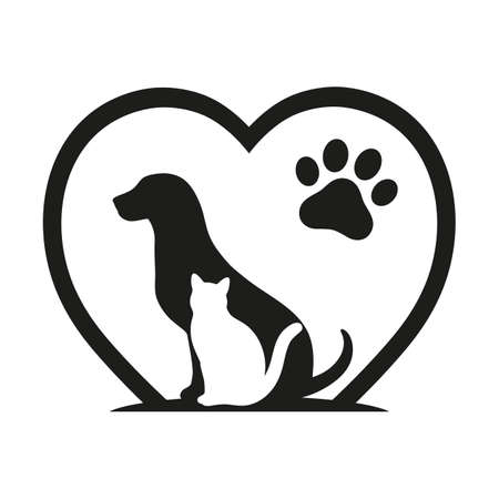 dog and cat love animal symbol paw print with heart