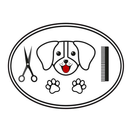 Barber shop for dogs and other animals emblem Zdjęcie Seryjne - 136459892