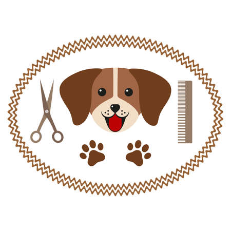 dog hair salon, styling and grooming shop, store for dogs Ilustracja