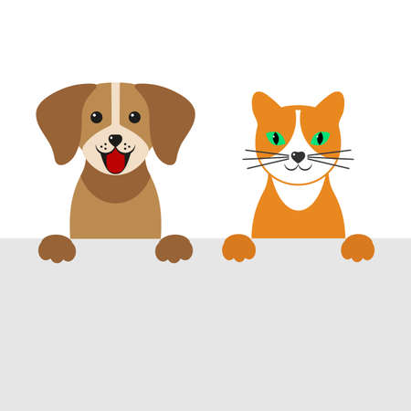 cute cartoon dog and cat on a white background