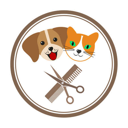 emblem with dog and cat for pet grooming salon Zdjęcie Seryjne - 136342670