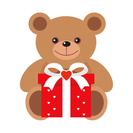 Cute teddy bear holding red gift on a white background