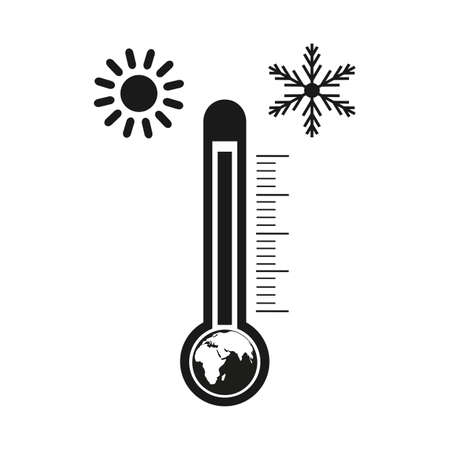 Climate change concept icon with globe and thermometer Zdjęcie Seryjne - 136459899