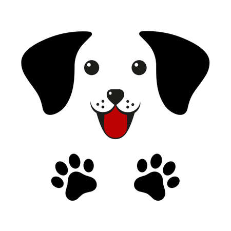 illustration of a cute dog face with paws on a white background