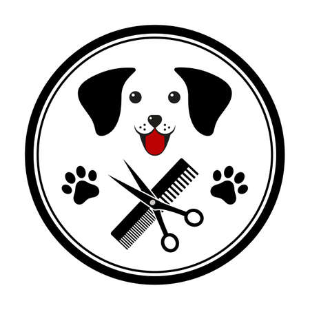 illustration emblem for dog hair salon, haircut and grooming shop