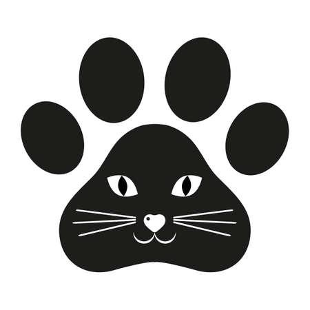 illustration of cat face on black track background Zdjęcie Seryjne - 136830364