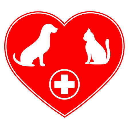 veterinary emblem with dog and cat with medical cross