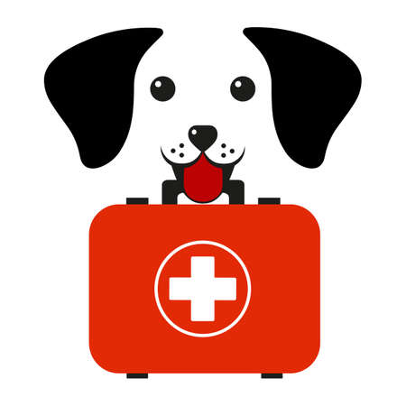 veterinary emblem dog head with a medical suitcase