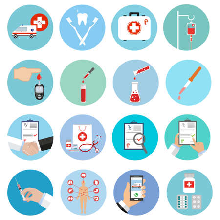 Set of medical flat design icons. Healthcare and medicine