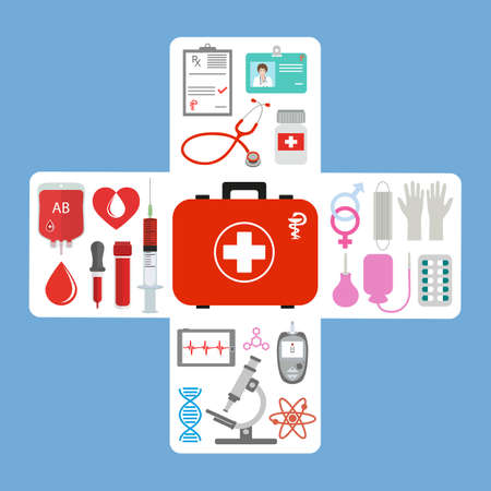 First aid kit, stethoscope and syringe, vial of medicine Zdjęcie Seryjne - 137299900