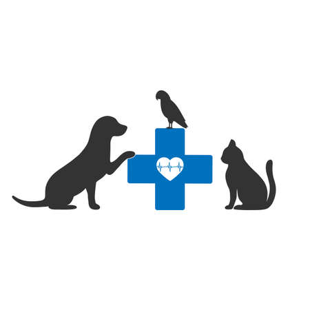 logo of a veterinary clinic. Dog, cat and bird with a medical cross 向量圖像