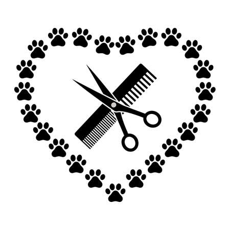 emblem animal grooming with comb and scissors in the shape of a heart