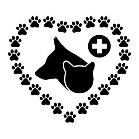 emblem for veterinary clinics dog and cat head in heart